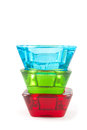 Vibrant multicolored glass candle holder isolate white background Royalty Free Stock Images
