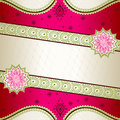 Vibrant pink banner inspired by Indian mehndi desi Stock Image