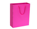 Vibrant pink shopping bag gift bag a bright glossy isolated on white Royalty Free Stock Photos