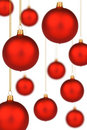 Vibrant red Christmas Baubles on gold thread Stock Photography