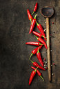 Vibrant red mexican hot chilli pepper on old background Royalty Free Stock Photo