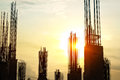 Vibrant and silhouette construction site workers Royalty Free Stock Photo