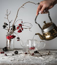 Viburnum branches with berries and snow in a transparent vase, female hand pouring water into the kettle