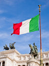 Victor Emmanuel II Monument and Italian Flag, Rome Royalty Free Stock Photo