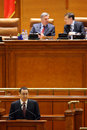 Victor ponta holding a speech in romanian parliament Stock Image