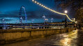 Victoria embankment shot at night after rain Royalty Free Stock Photography