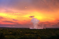 Victoria falls the under sunset from air in zimbabwe Stock Image