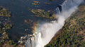 Victoria falls waterfall in the zambezi river from the air between zambia and zimbabwe Royalty Free Stock Image