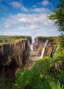 Victoria Falls, Zambia, with blue sky Stock Photo