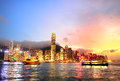 Victoria harbor skyline of hong kong island at colorful dusk Royalty Free Stock Images