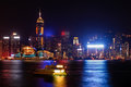 Victoria night located in the hong kong sar hong kong island and the kowloon peninsula between the harbor Stock Images