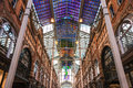 Victoria quarter s symmetry color glass ceiling leeds uk march stained the was restored during which a coloured roof was erected Stock Images