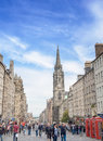 Victoria Street historic city view with traffic and building in old town Edinburgh