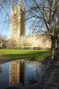 Victoria tower reflected in puddle palace of westminster london Royalty Free Stock Photos