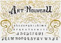 Victorian alphabet in ancient style. Antique old Font for Whiskey label. Vintage typeface in black colors, editable and