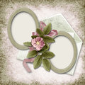 Victorian background with old photo-frame and rose Stock Photo