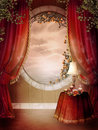 Victorian bedroom with red curtains Royalty Free Stock Photography