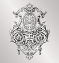 Victorian decoration vintage style baroque engraving Royalty Free Stock Photography