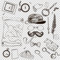 Victorian Era Collection, Gentleman`s vintage accessories doodle set.