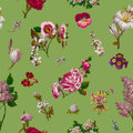 Victorian flowers seamless background vintage on green Royalty Free Stock Photos
