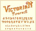 Victorian Font in ancient style. Antique old alphabet for Whiskey label. Vintage typeface in gold colors, editable and