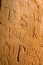 Victorian grafitti on a sandstone wall uk old Royalty Free Stock Photo