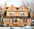 Victorian home on sunny winter day side view of style with snow Stock Images