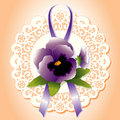 Victorian Lace, Violet Pansies Stock Photo