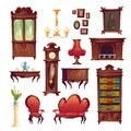 Victorian living room stuff, old classic furniture Royalty Free Stock Photo