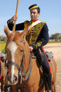 Victorian mounted horse artillery trooper display re enactor fort rinella malta Stock Photos
