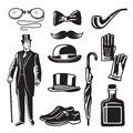 Victorian style monochrome illustrations for gentleman club. Vector pictures set