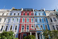 Victorian terraced houses colourfully painted Royalty Free Stock Photo