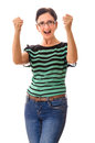 Victorious person cheerful adult woman with clenched fists celebrating success isolated over white background Royalty Free Stock Photography