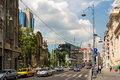 Victory avenue in bucharest romania may calea victoriei on may romania the road was renamed calea victoriei and is a Royalty Free Stock Image