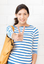 Victory bright picture of lovely teenage girl showing sign Royalty Free Stock Photo