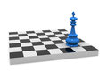 Victory d illustration of chess board with king Royalty Free Stock Photos