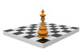 Victory d illustration of chess board with king Royalty Free Stock Photography