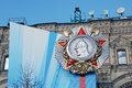 Victory day decoration on the red square huge medal of aleksandr nevsky blue ribbon taken may in moscow russia Royalty Free Stock Image