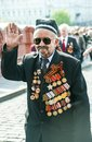Victory day russia moscow may a veteran of world war ii is walking to kremlin for a celebration Stock Photography