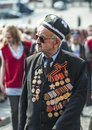 Victory day russia moscow may a veteran of world war ii is walking to kremlin for a celebration Stock Images