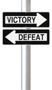 Victory or defeat conceptual one way street signs on and Stock Image