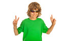 Victory gesturing teen boy with sunglasses sign hand isolated on white background Stock Photos