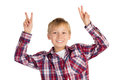 Victory happy young boy shows sign with both hands isolated on white Royalty Free Stock Image