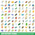 100 victory icons set, isometric 3d style