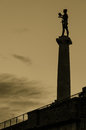 Victory monument sephia effect statue of with a in capital city belgrade serbia kalemegdan park Royalty Free Stock Photo