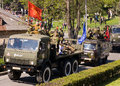 Victory parade in pyatigorsk may day the of veterans honor of anniversary of the may russia Royalty Free Stock Images