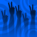 Victory sign illustration of hands raised up in a Stock Images