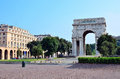 Victory square and the arc de triomphe genoa italy Stock Image