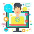 Video blogger concept. Computer screen with man blogger. Personal channel broadcasting flat vector illustration. Royalty Free Stock Photo