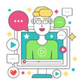 Video blogger flat line concept. Computer screen with man blogger. Personal channel broadcasting stroke vector Royalty Free Stock Photo